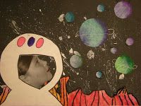 Grade Outer Space- with pictures of each student Liu Babcock Cerulo space unit art! Arte Elemental, Ecole Art, Elementary Science, Science Classroom, Arts Ed, Space Theme, Art Plastique, Art Activities, Teaching Art