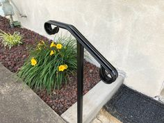 Single Post ornamental hand rail 1 or 2 step railing for stairs steel handrail with hardware! Iron Handrails, Steel Handrail, Outdoor Stair Railing, Concrete Anchors, Cast Steel, Hammer Drill, 2 Step, It Cast, Hardware
