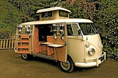 VW Bus Camper - Oh how I would love to have this with a black and white checked floor