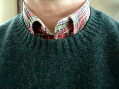 L.L.Bean spruce shetland sweater, Lands' End Sail Rigger in Modern Stewart Dress Tartan.