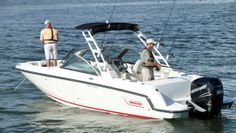 Boston Whaler 230 Vantage: There is nothing like a dual console for two anglers to use as a comfortable platform. The optional fishing package has a 14 gallon livewell. Four in-gunwale rod holders are standard.