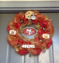 Deco Mesh 49er Wreath!! Just in time for Football Season!!