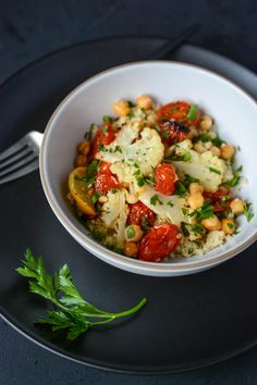 roasted cauliflower, tomato and chickpea bowl (sheet pan dinner) | scaling back