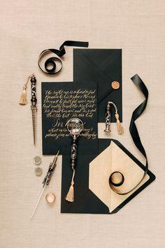 partecipazioni matrimonio in nero e oro