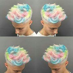 Dios mío, se ve tan genial - Inspiration hair Design - # Mens Hair Colour, Cool Hair Color, Hair And Beard Styles, Curly Hair Styles, Pelo Multicolor, Cotton Candy Hair, Funky Hairstyles, Men Hairstyles, Haircut And Color