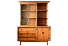 Midcentury pieces I really like - this Hutch with bamboo accents