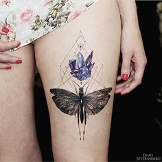 Stunning geometric moth floral tattoo design ideas inspiration thigh placement