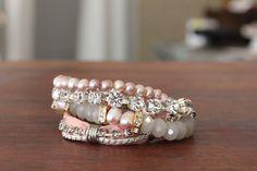 Delphine bracelet in pink  Pink Bridal Bracelet by charlottehosten, $166.00