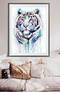 White Tiger watercolor painting print animal by SlaviART on Etsy