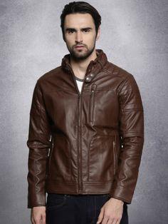 Winter Wear For Men, Biker, Leather Jacket, Brown, Jackets, How To Wear, Stuff To Buy, Tops, Fashion