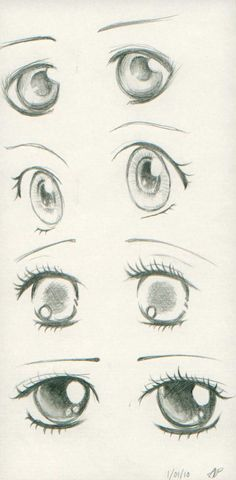 Anime eyes I made for days! I used some reference in SOME eyes. But some are mine. The reference are in a book of how to draw anime... That my mom bought me 5 years ago.