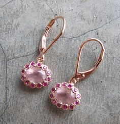 Pink Ruby Earrings- Ruby with Rose Quartz Gold Earrings- July Birthstone Earrings- Dainty Gold Earrings on Etsy, $219.99