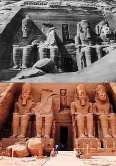 Abu Simbel–1926 & today.Abu Simbel temples 2 massive rock temples in Abu Simbel,southern Egypt,near border with Sudan.On western bank of Lake Nasser,230km southwest of Aswan (about 300km by road).Twin temples originally carved out of mountainside during reign of Pharaoh Ramesses II in 13thC BC,as lasting monument to himself & Queen Nefertari to commemorate alleged victory at Battle of Kadesh.Complex relocated in entirety in 1968,on artificial hill made from domed structure,above Aswan reservoir.