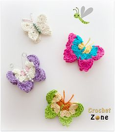 Usher in spring with these colorful, bright and fun butterflies. They will look so adorable on so many things or just hang them from string in your window, I think they will make you smile. You can work them in any type, size yarn and an appropriate hook size, so have fun, experiment and bust that stash!