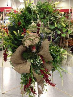 Gnome and burlap mushroom wreath