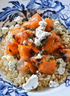Brown Yamani Rice with roasted pumpkin, thyme, goat cheese drizzled with raw honey and fresh squeezed lemon juice