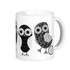 Little Newsprint Owls Coffee Mug