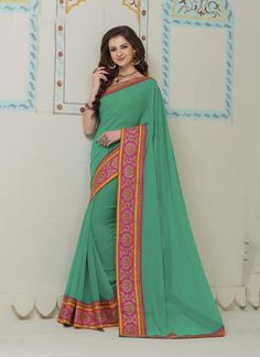 Online saree shopping made easy! Shop this nice sea green designer saree for festival and party.