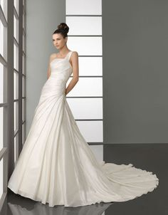 Fashionable one shoulder dropped waist taffeta wedding dress $493.00