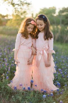 Modest blush pink little girls' ruffle dresses. Review + Giveaway on @jlpblog. Photography: Elisheva Golani Photography, LLC.