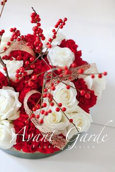 Red carnation & white roses