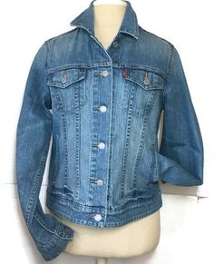 Levi Strauss Denim Trucker Jacket Large Stretch Western Blue Jean Rodeo Boho  | eBay