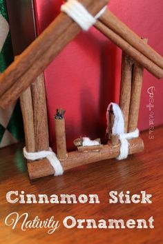 Cinnamon Stick Nativity Ornament for a rustic Christmas.  Easy to make, beautiful, and smells great!