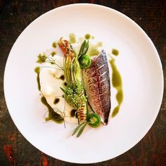 Torched mackerel•zucchini flower filled with smoked mackerel pesto•buttermilk with fermented cucumber•sea fennel•green tomato•wild…