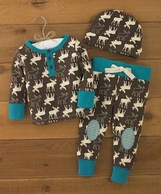 I think this is the first baby boy outfit I've found that I actually like! I'm so picky! Brown & Turquoise Moose Pajama Set - Infant on #zulily today!