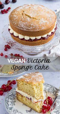 Vegan Vanilla Cake, Cake Vegan, Vanilla Buttercream, Gluten Free Vegan Cake, Vegan Victoria Sponge, Victoria Sponge Cake, Vegan Baking Recipes, Vegan Dessert Recipes, Dessert Healthy