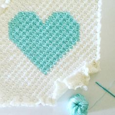 Daisy Farm Crafts: Corner to Corner Crochet Heart Blanket | Add a large heart to a baby blanket for a simple crochet gift