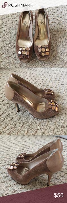 Neda by Bebe peep toe heels Neda by Bebe peep toe heels. New with tags. Jewel details. bebe Shoes Heels
