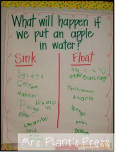 Apple Sink or Float…apple day next year! Preschool Apple Theme, Fall Preschool, Kindergarten Science, Preschool Lessons, Preschool Classroom, Preschool Learning, Teaching, Preschool Apples, Preschool Apple Activities