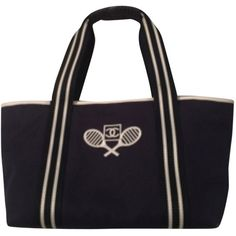 Pre-owned Chanel Sport Collection: Le Tennis Navy Tote Bag ($449) ❤ liked on Polyvore featuring bags, handbags, tote bags, navy, evening handbags, waterproof beach tote, waterproof tote, leather handbags and navy leather tote