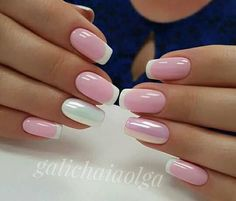 French nails create the visual effect of slender fingers. Now French nails have various color variations. Here we provide a variety of nails that are instantly elegant and make your hands look longer. Nail Art Designs, Square Nail Designs, Acrylic Nail Designs, Acrylic Nails, Nails Design, French Nails, Hair And Nails, My Nails, Crome Nails
