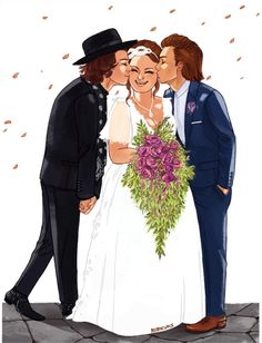 This is the cutest wedding fanart I have seen so far. Larry Stylinson, Jay Tomlinson, Mamamoo, Louis E Harry, Desenho Harry Styles, Foto One, Larry Shippers, Photoshop Pics, I Love One Direction