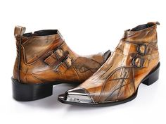 Genuine Leather Men Boots Metal Toe Motorcycle Winter Boots For Men Cowboy High Top Men Shoes Autumn Buckle Ankle Botas Hombre