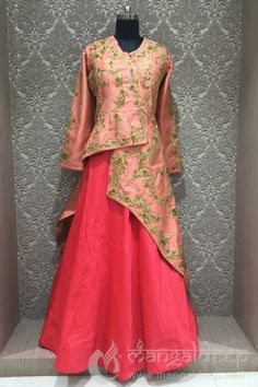 Fascinating crimson red and peach in readymade designer partywear indowestern suit Pakistani Dresses, Indian Dresses, Indian Outfits, Indian Blouse, Indian Wear, Lehenga Designs, Kurta Designs, Before Wedding, Indian Designer Wear