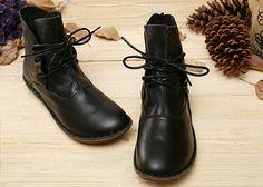 Handmade ShoesBlack Ankle BootsOxford Women Shoes Flat por HerHis