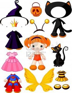 Girl with dresses for halloween pa. Paper doll with three dresses for halloween party. Halloween Doll, Halloween Costumes For Girls, Halloween Crafts, Halloween Party, Paper Bag Princess Costume, Paper Toys, Paper Crafts, Paper Dolls Clothing, Paper Dolls Printable