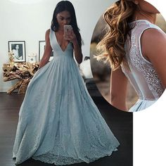 Elegant V Neck Sky Blue Sleeveless Prom Gown with Lace