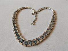 Vintage Blue Clear Glass Necklace Very by BraceletstoBuckles, £22.00