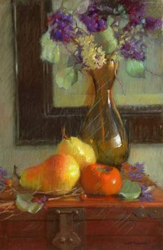 """PERSIMMON WITH PEARS  Pastel on Paper  16 x 11""""  Sally Strand"""