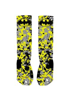 Custom designed Batman socks with reinforced toe and heel for extra comfort and support. Design is the same on the front and the back of each