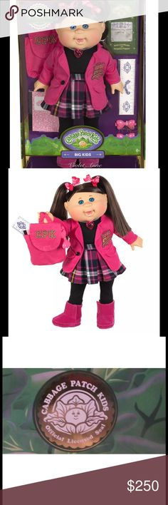 Rare Limited Edition Cabbage Patch Big Kid Doll Violet Anne is the Class President. Accessories include: matching CPK backpack, CPK ruler, CPK ledger book and extra bow clips for her hair. Birth Certificate and Adoption papers are also included with adoption. The Big Kid has an all vinyl head and body and the sweet baby powder scent. Recommended for ages 6+. Only 1000 ever produced and retired after an exclusive one day production run. This box has never been opened. Very rare limited…