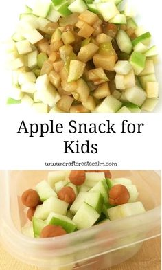 Appled themed snack for kids to go with the book Ten Apples Up on Top by Dr. Ingredients: Green Apple 1 T. Kraft Caramel Bits Directions: Chop the apple in to small pieces. Add Kraft Caramel Bits to the apple pieces Microwave for 45 seconds How To Cook Brisket, How To Cook Ham, Salty Snacks, Yummy Snacks, Kid Snacks, Family Meals, Kids Meals, Book Club Snacks, Apple Snacks