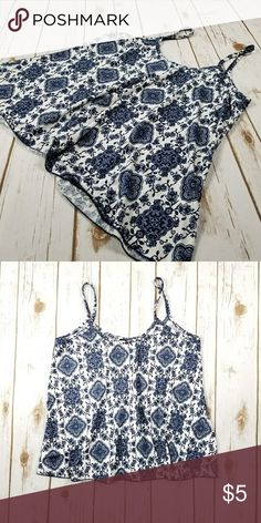 Blue and white top Poly/spandex blend. Spaghetti strap top. First Love Tops