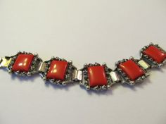 Vintage Chunky Silver Tone and Square Red Lucite by Lavendergems, $20.00