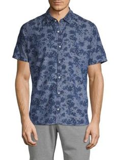 Civil Society Printed Short-sleeve Button-down Shirt In Blue Button Downs, Button Down Shirt, Civil Society, Printed Shorts, Civilization, Short Sleeves, Men Casual, Buttons, Mens Fashion