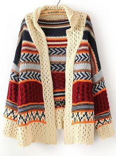 Beige Turndown Collar V-neck Loose Wool Blend Cardigan I got this at Marshalls for 20 bucks Folk Fashion, Ethnic Fashion, Winter Fashion, Street Fashion, India Fashion, Asian Fashion, Cream Long Sleeve Tops, Poncho, Look Chic